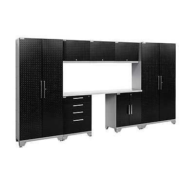 NewAge Performance 2.0 Diamond Plate Black 8 Piece Storage Cabinet Set, Stainless Steel Worktop (55562)