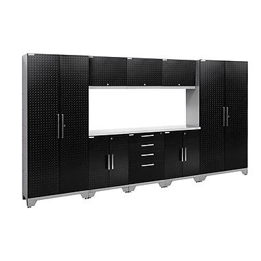NewAge Performance 2.0 Diamond Plate Black 9 Piece Storage Cabinet Set, Stainless Steel Worktop (55574)