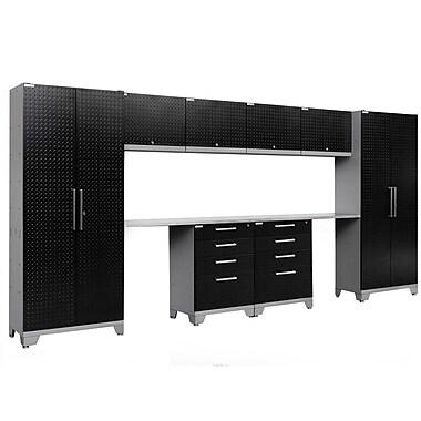 NewAge Performance 2.0 Diamond Plate Black 10 Piece Storage Cabinet Set, Stainless Steel Worktop (55582)