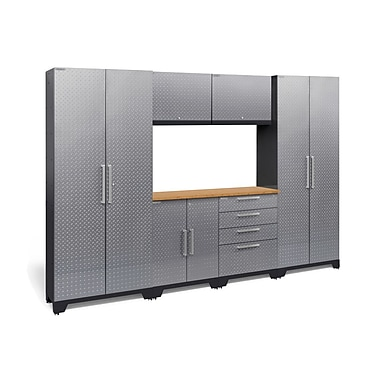 NewAge Performance 2.0 Diamond Plate Silver 7 Piece Storage Cabinet Set, Bamboo Worktop (55756)