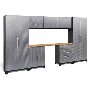 NewAge Performance 2.0 Diamond Plate Silver 8 Piece Storage Cabinet Set, Bamboo Worktop (55764)