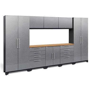 NewAge Performance 2.0 Diamond Plate Silver 9 Piece Storage Cabinet Set, Bamboo Worktop (55772)