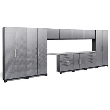 NewAge Performance 2.0 Diamond Plate Silver 12 Piece Storage Cabinet Set, Stainless Steel Worktop (55798)