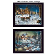 """TrendyDecor4u 14 in. x 11 in. """"Home for the Holidays"""" by Jim Hansen Ready to Hang, Printed Framed Wall Art(V405-712)"""