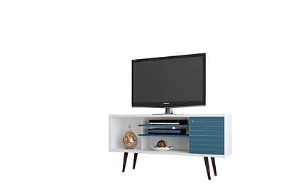 Manhattan Comfort Liberty MDP and MDF TV Stand, White and Aqua Blue (200AMC63)