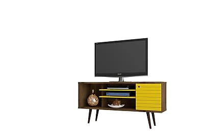 Manhattan Comfort Liberty MDP and MDF TV Stand, Rustic Brown and Yellow (200AMC94)