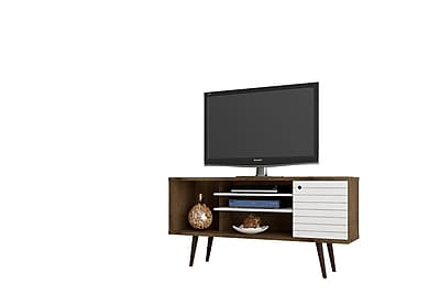 Manhattan Comfort Liberty MDP and MDF TV Stand, Rustic Brown and White (200AMC96)