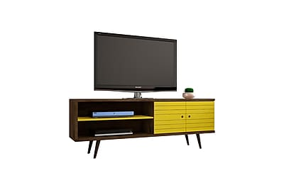Manhattan Comfort Liberty MDP and MDF TV Stand, Rustic Brown and Yellow (201AMC94)