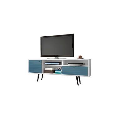 Manhattan Comfort Liberty MDP and MDF TV Stand, White and Aqua Blue (202AMC63)