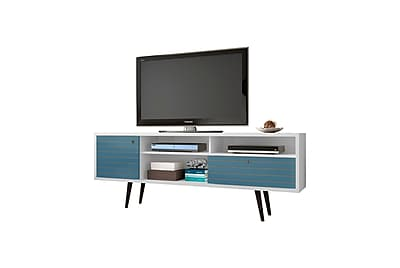 Manhattan Comfort Liberty MDP and MDF TV Stand, White and Aqua Blue (202AMC63)