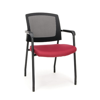 Mesh Chair Guest/Reception Chair with Arms, Wine (424-803)