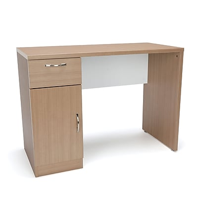Essentials by OFM Single Pedestal Solid Panel Office Desk with Drawer and Cabinet, Harvest (ESS-1015-HVT)