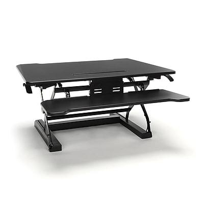 Essentials By OFM Adjustable Desktop Riser with Keyboard Tray, Black (ESS-5136-BLK)