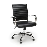 Essentials By OFM Ribbed Leather Executive Chair, Black (ESS-6095-BLK)