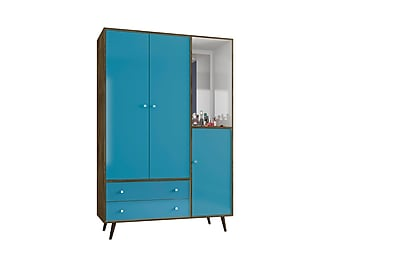 Manhattan Comfort Liberty Armoire, Rustic Brown and Aqua Blue, (208BMC93)