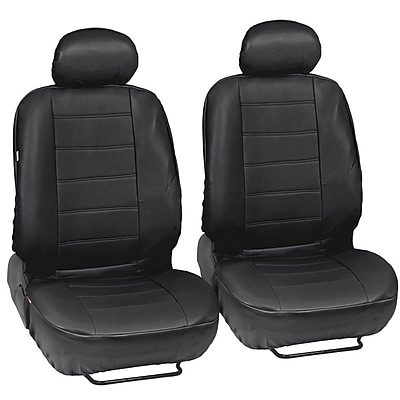 Motortrend SC-4230-BK MotorTrend PU Leather Low Back Seat Cover for CAR SUV Van 9 PCS