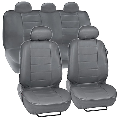 Motor Trend SC-4230-GR PU Leather Low Back Seat Cover for CAR SUV Van9 PCS