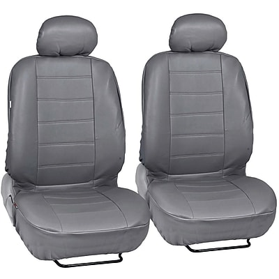MotorTrend SC-4930-GR Grey PU Leather Low Back Seat Cover for CAR SUV Van 4pcs