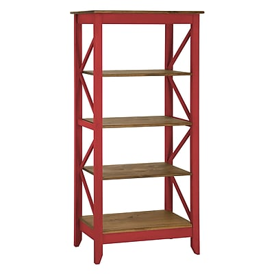 "Manhattan Comfort Jay 4-Shelf 31.5"" Solid Wood Bookcase, Red (CS33003)"