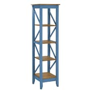 "Manhattan Comfort Jay 4-Shelf 18.5"" Solid Wood Bookcase, Blue (CS34001)"