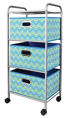 Bintopia Compact 3 Drawer Storage Cart with Turquoise/Green Metal Frame (22001)