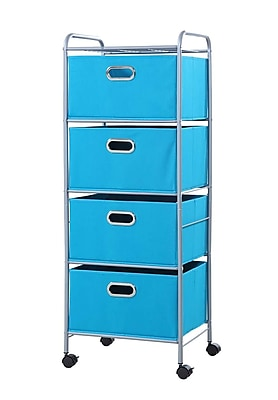 Bintopia 4 Drawer Trolley Cart with True Blue Metal Frame (22004)