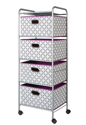 Bintopia 4 Drawer Trolley Cart with Heather Gray/White/Plum Metal Frame (22006)