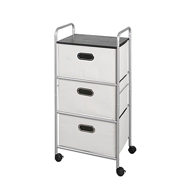Bintopia 3 Drawer Cart with MDF Top with Gray Metal Frame (22012)