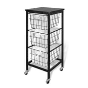 Bintopia 3 Drawer Wire Storage Cart with Espresso Top, Black Metal Frame (22018)