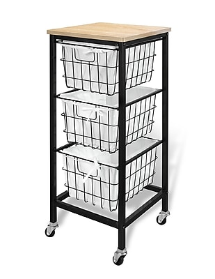 Bintopia 3 Drawer Wire Storage Cart with Natural Top Black Metal Frame (22019)