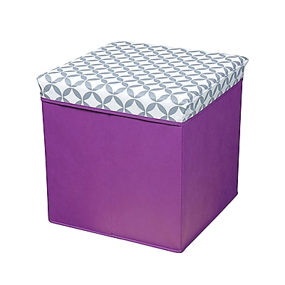 Bintopia Collapsible Storage Ottoman, Heather Gray & White & Plum (22043)