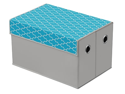 Bintopia Collapsible Storage trunk, Turquoise & Gray (22045)