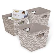 Bintopia Collapsible Fabric Bin 3 Pack, Tan & White (22078)