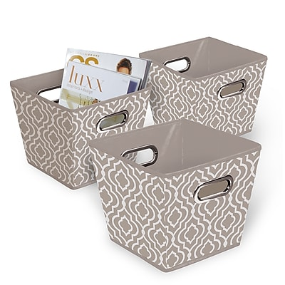 Bintopia Collapsible Fabric Bin 3 Pack, Tan & White (22078)