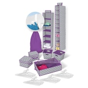 Bintopia Back to School Storage Bundle, 30 Piece Set, Heather Gray & White & Purple Trim (22085)
