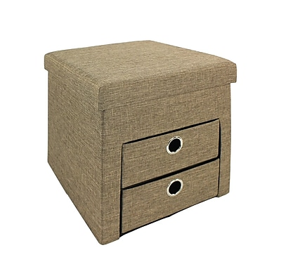 Bintopia Folding Ottoman with 2 Drawers, Taupe (66111)