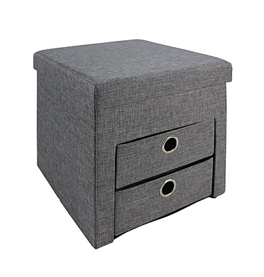 Bintopia Folding Ottoman with 2 Drawers, Gray (66113)