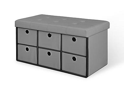 Bintopia 6 Drawer Bench, Gray (66114)