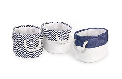 Bintopia 3 Pack Chevron Bin Set, Navy (70054)