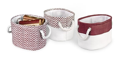 Bintopia 3 Pack Chevron Bin Set, Burgundy (70056)