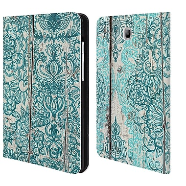 Micklyn Le Feuvre On Wood Teal And Aqua Botanical Doodle On Weathered Leather Book Wallet Case Cover For Galaxy Tab A 8.0 T350