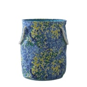 Bintopia Round Hamper & Tote With Rope Handle, Blue & Green (88801)