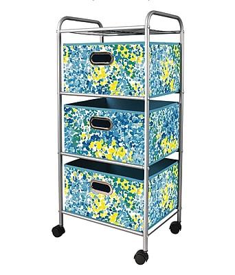 Bintopia 3 Drawer Trolley Cart with Blue/Green Metal Frame (88802)