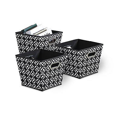 Bintopia 3 Pack Collapsible Grommet Bins , Black & White (88806)