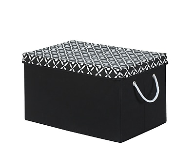 Bintopia Storage Trunk With Removable Lid, Black & White (88810)