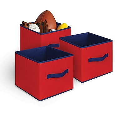Bintopia 3 Pack Collapsible Storage Cube, Red & Blue Trim (88812)