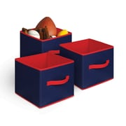 Bintopia 3 Pack Collapsible Storage Cube, Blue & Red Trim (88813)