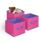 Bintopia 3 Pack Collapsible Storage Cube, Pink & Purple Trim (88817)
