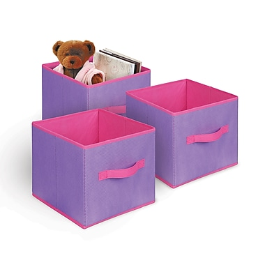 Bintopia 3 Pack Collapsible Storage Cube, Purple & Pink Trim (88818)