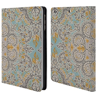 Official Micklyn Le Feuvre Floral Patterns Grey And Yellow Leather Book Wallet Case Cover For Apple Ipad Mini 1 / 2 / 3